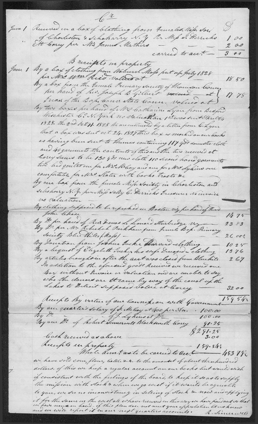 Expenditures and receipts of the Carey Mission first quarter which includes march april and may 1829 - 3