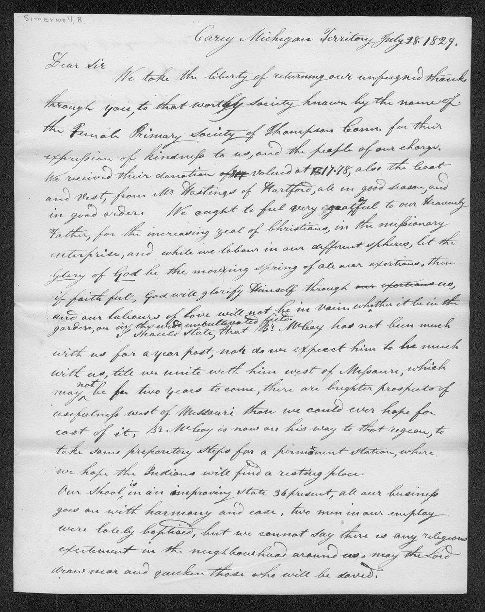 Robert Simerwell to Rev. Joseph B. Gilbert - 1