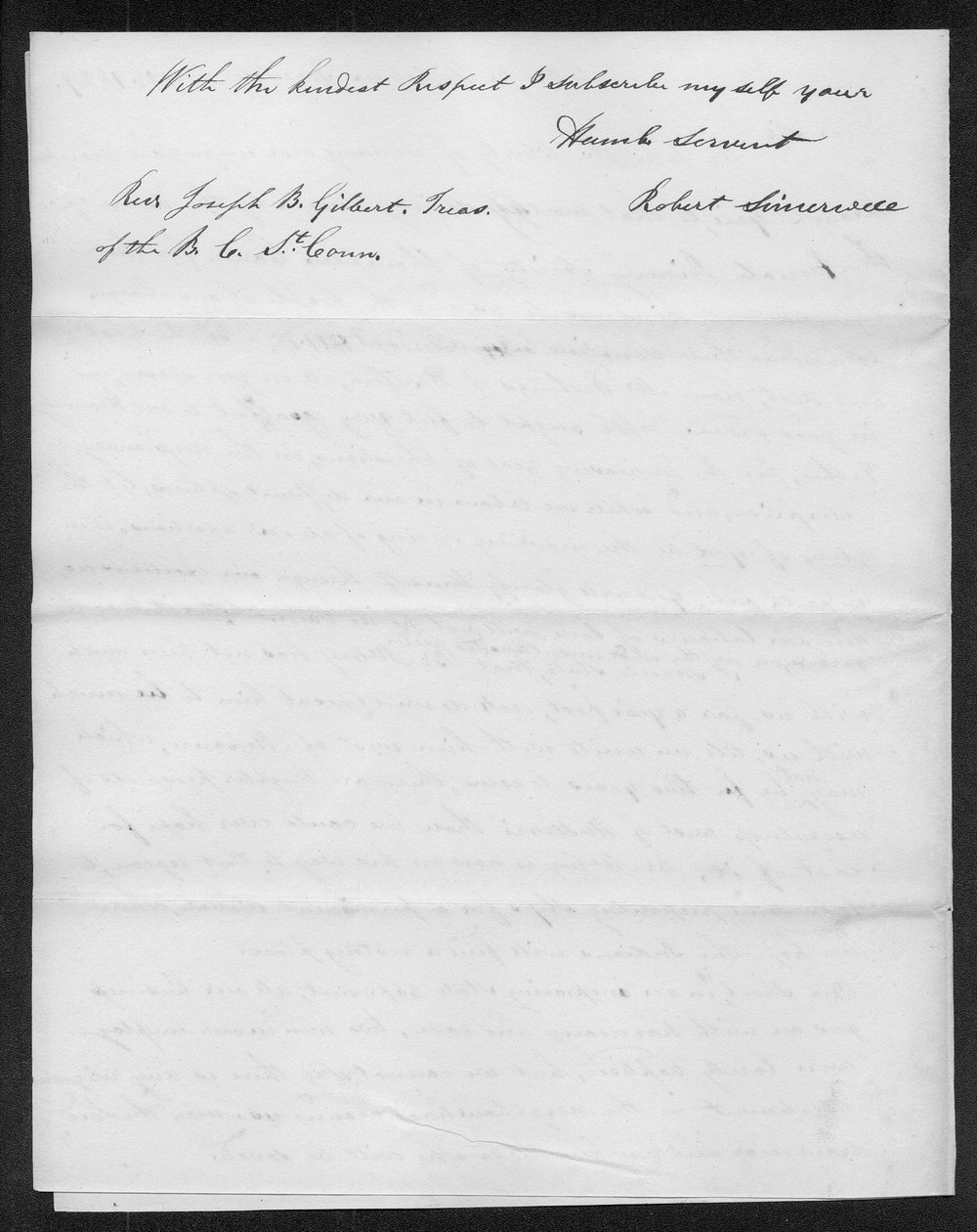 Robert Simerwell to Rev. Joseph B. Gilbert - 2