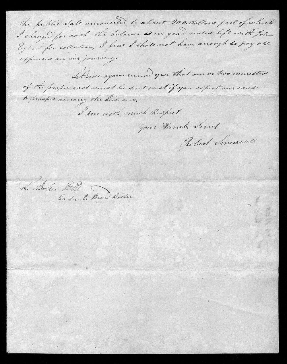 Robert Simerwell to Reverend Samuel Bolles - 3