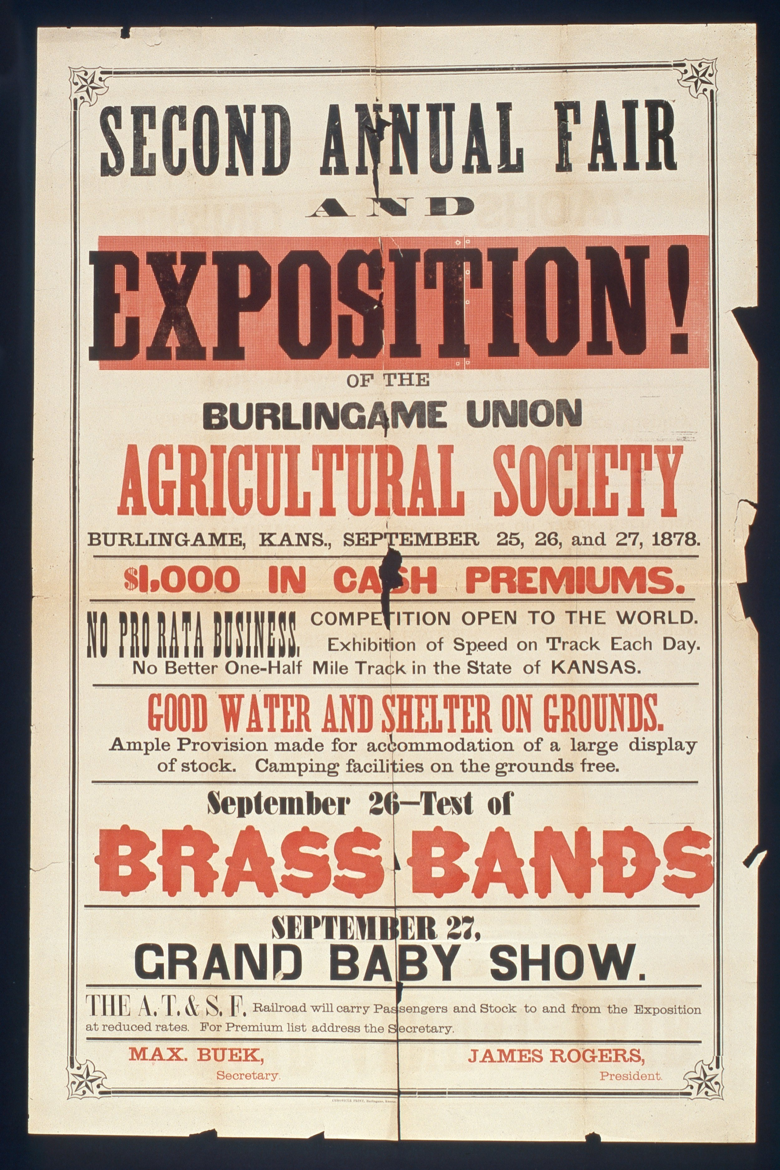 Second annual fair and exposition of the Burlingame Union Agricultural Society