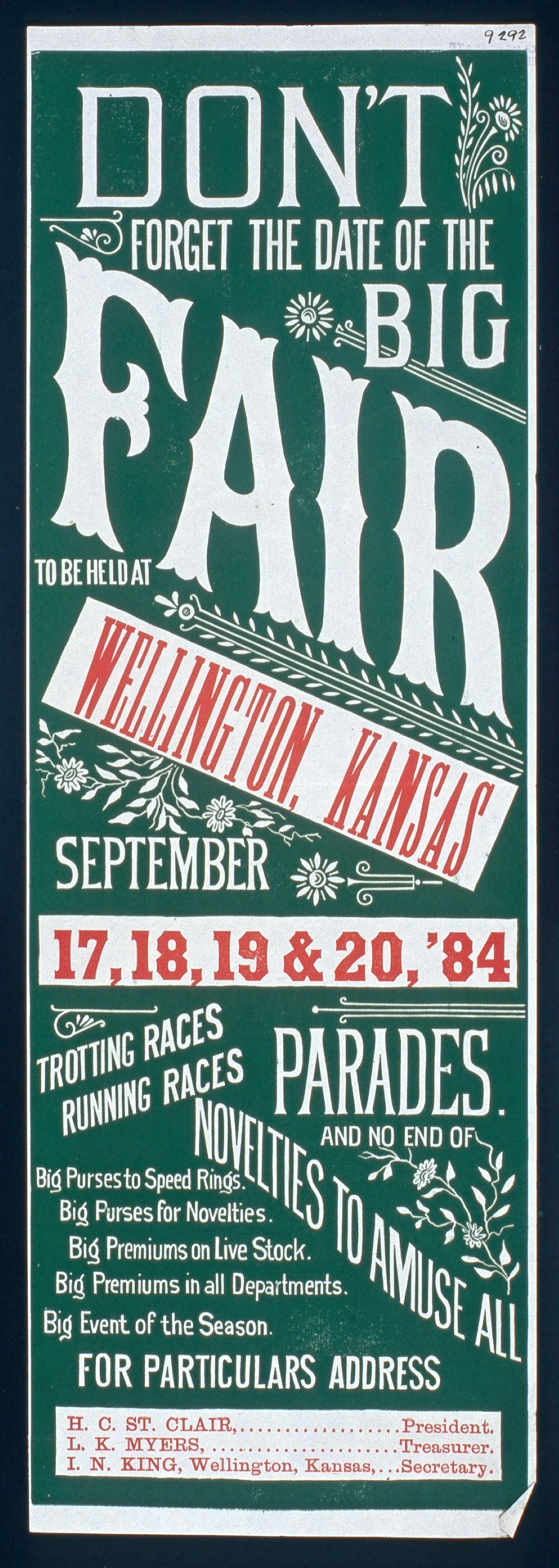 Don't forget the date of the big fair, Wellington, Kansas