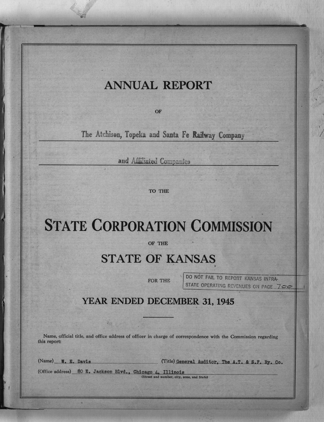 Annual reports of the Atchison, Topeka & Santa Fe Railway Company to the State Corporation Commission - Title Page
