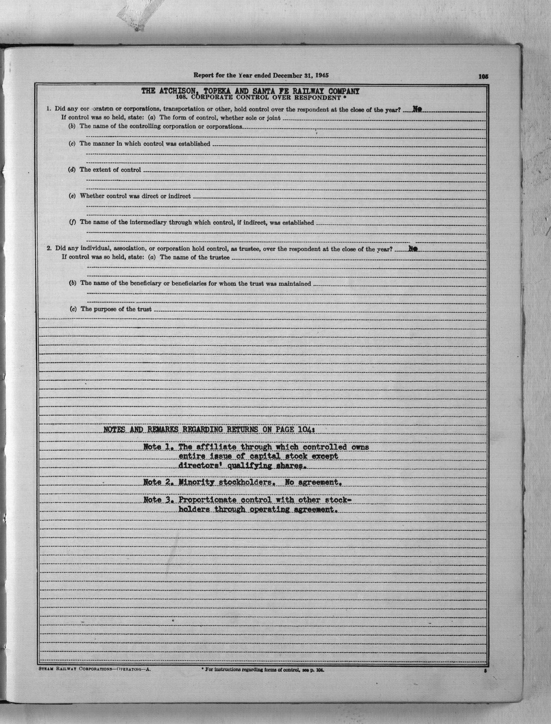Annual reports of the Atchison, Topeka & Santa Fe Railway Company to the State Corporation Commission - 5 - 105
