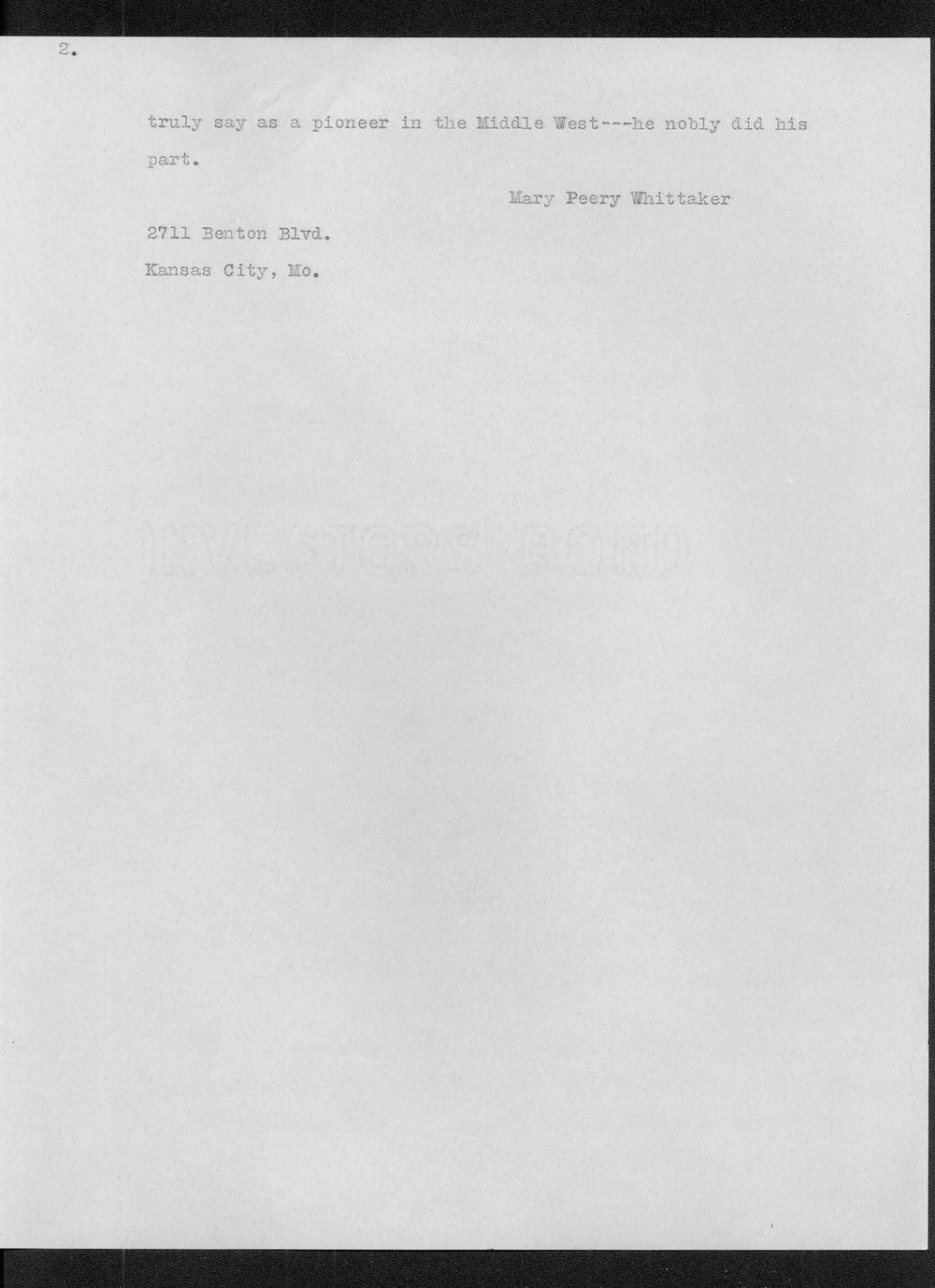 Diary of Reverend John Thompson Peery - Introduction to Memoirs