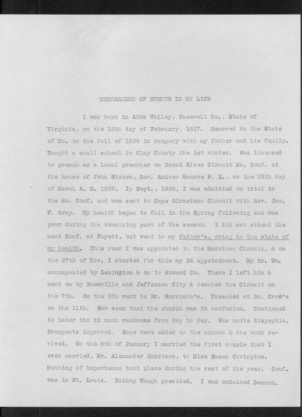 Diary of Reverend John Thompson Peery - 1