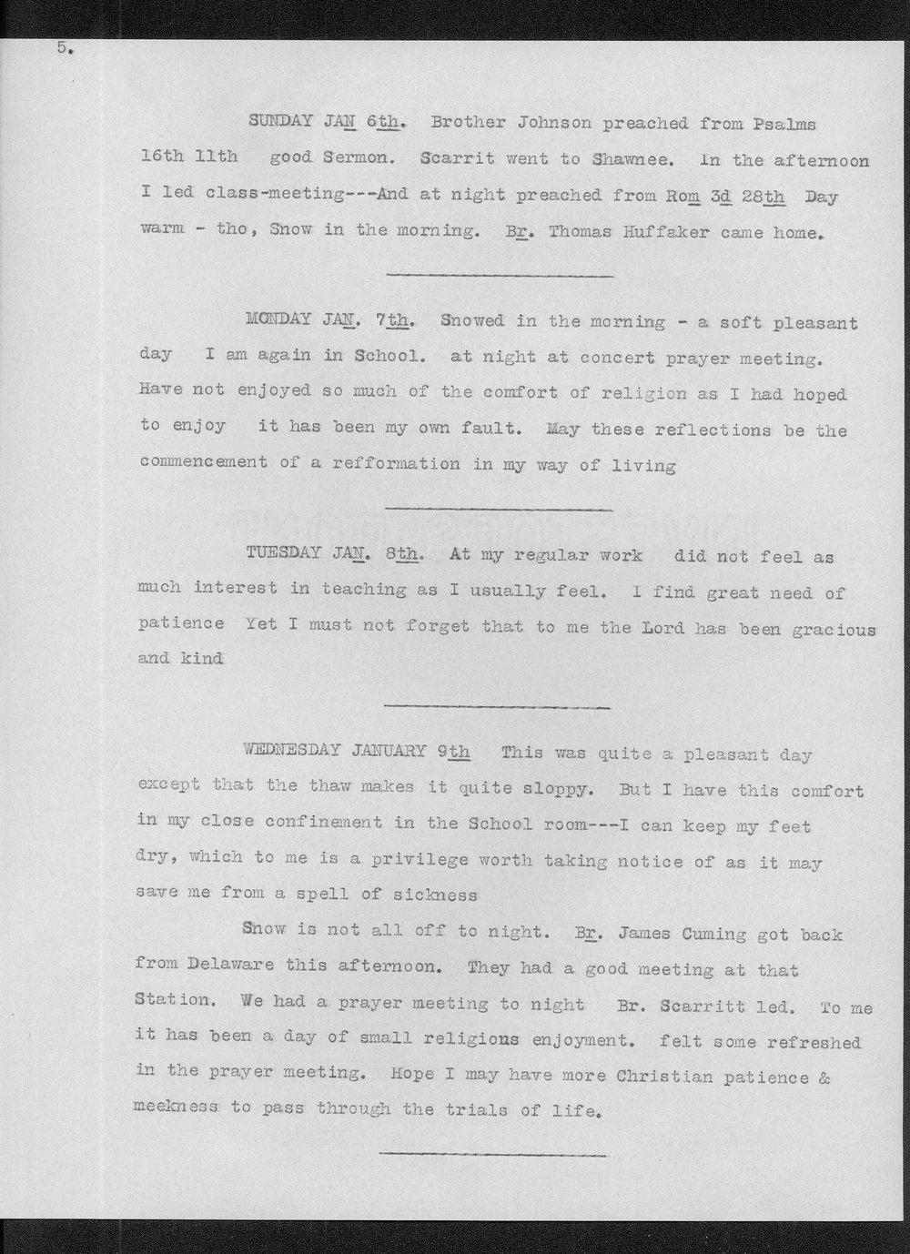 Diary of Reverend John Thompson Peery - 5