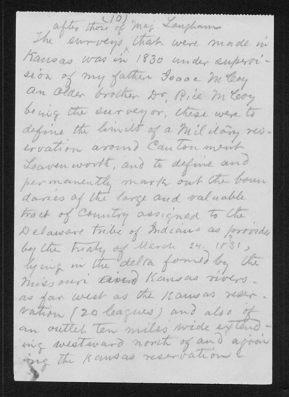 John C. McCoy to Franklin G. Adams - 10