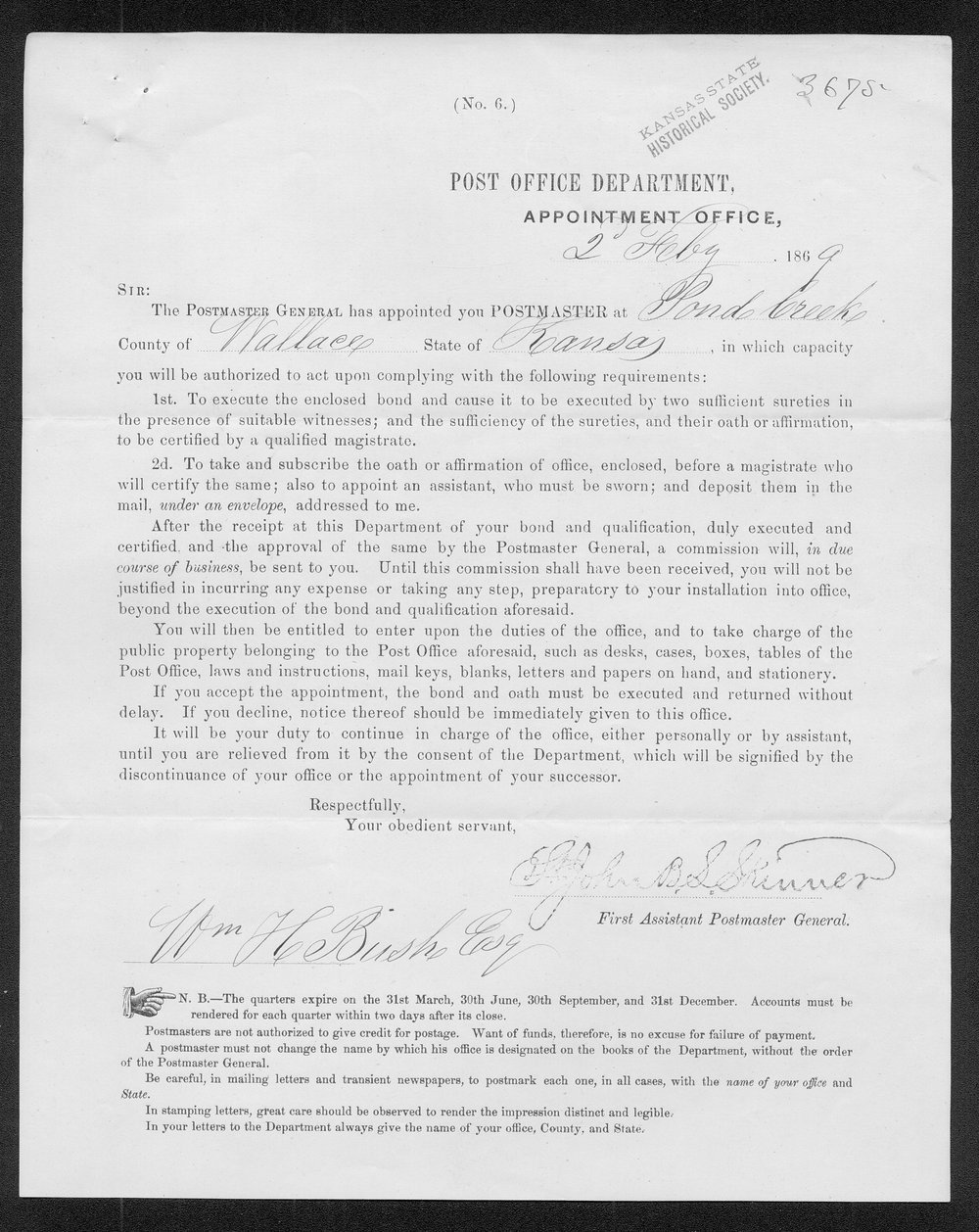 Appointment of William H. Bush to postmaster at Pond Creek, Wallace County, Kansas - 1