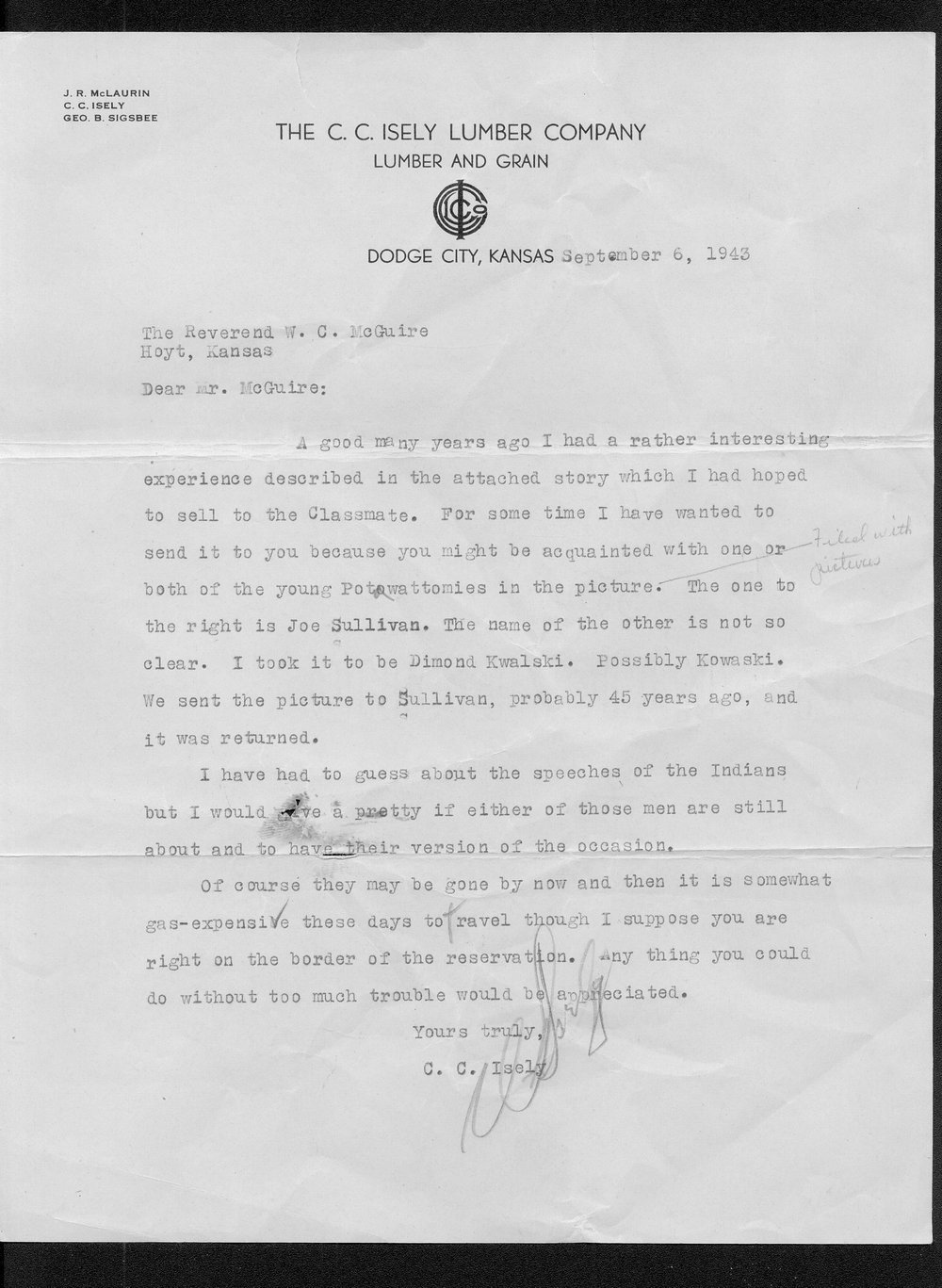C.C. Isley to Reverend W.C. McGuire, and accompanying manuscript - 1