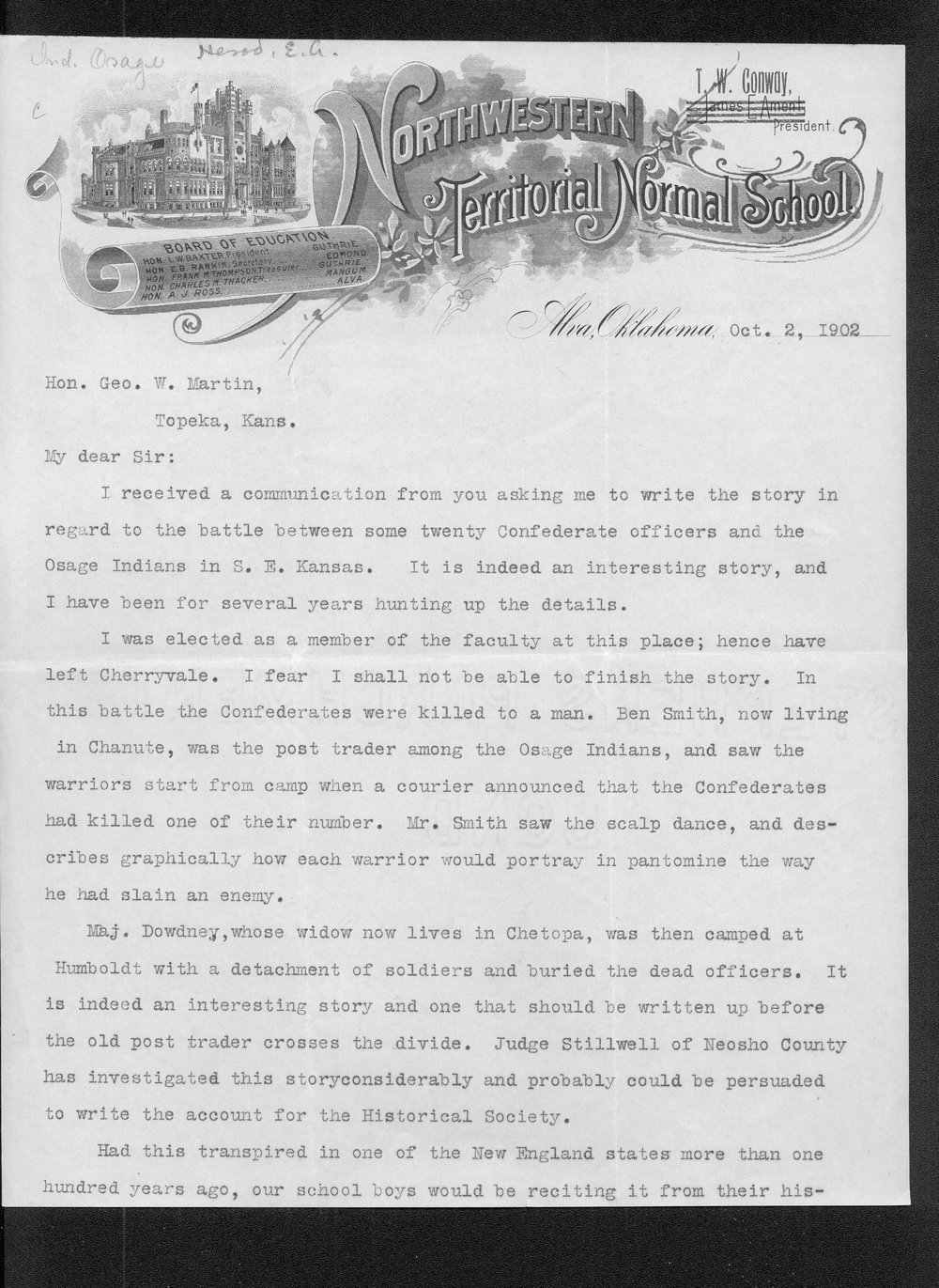 E.A. Herod to George W. Martin - 1