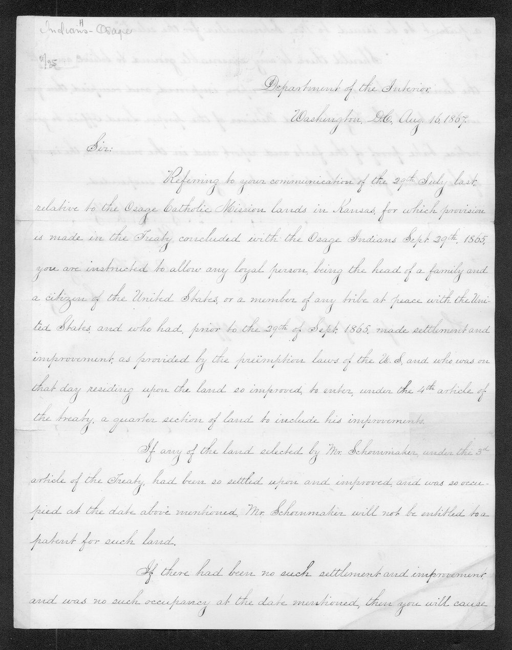 Orville Hickman Browning to the Commissioner of the General Land Office - 1