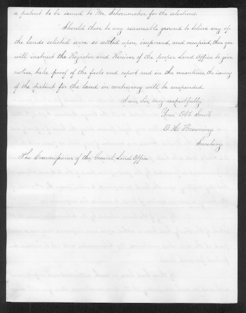 Orville Hickman Browning to the Commissioner of the General Land Office - 2