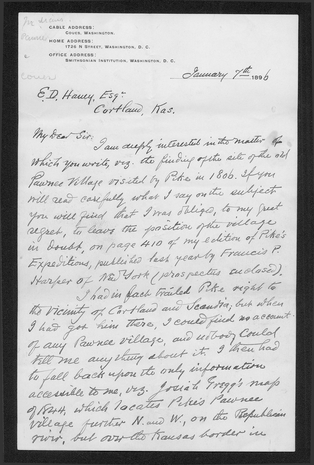 Zebulon Pike trip and Pawnee Indian Village correspondence - 1