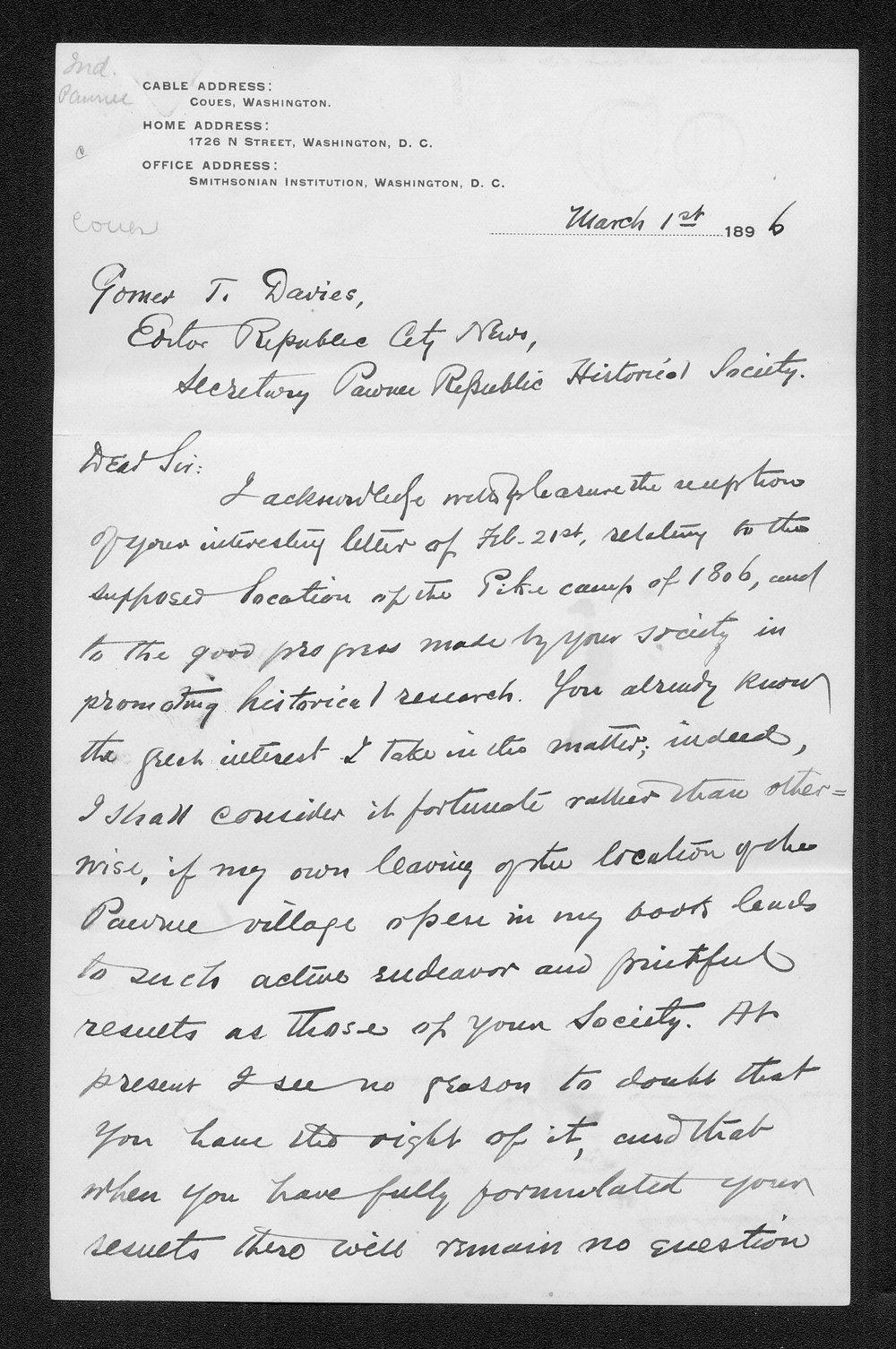 Zebulon Pike trip and Pawnee Indian Village correspondence - 6