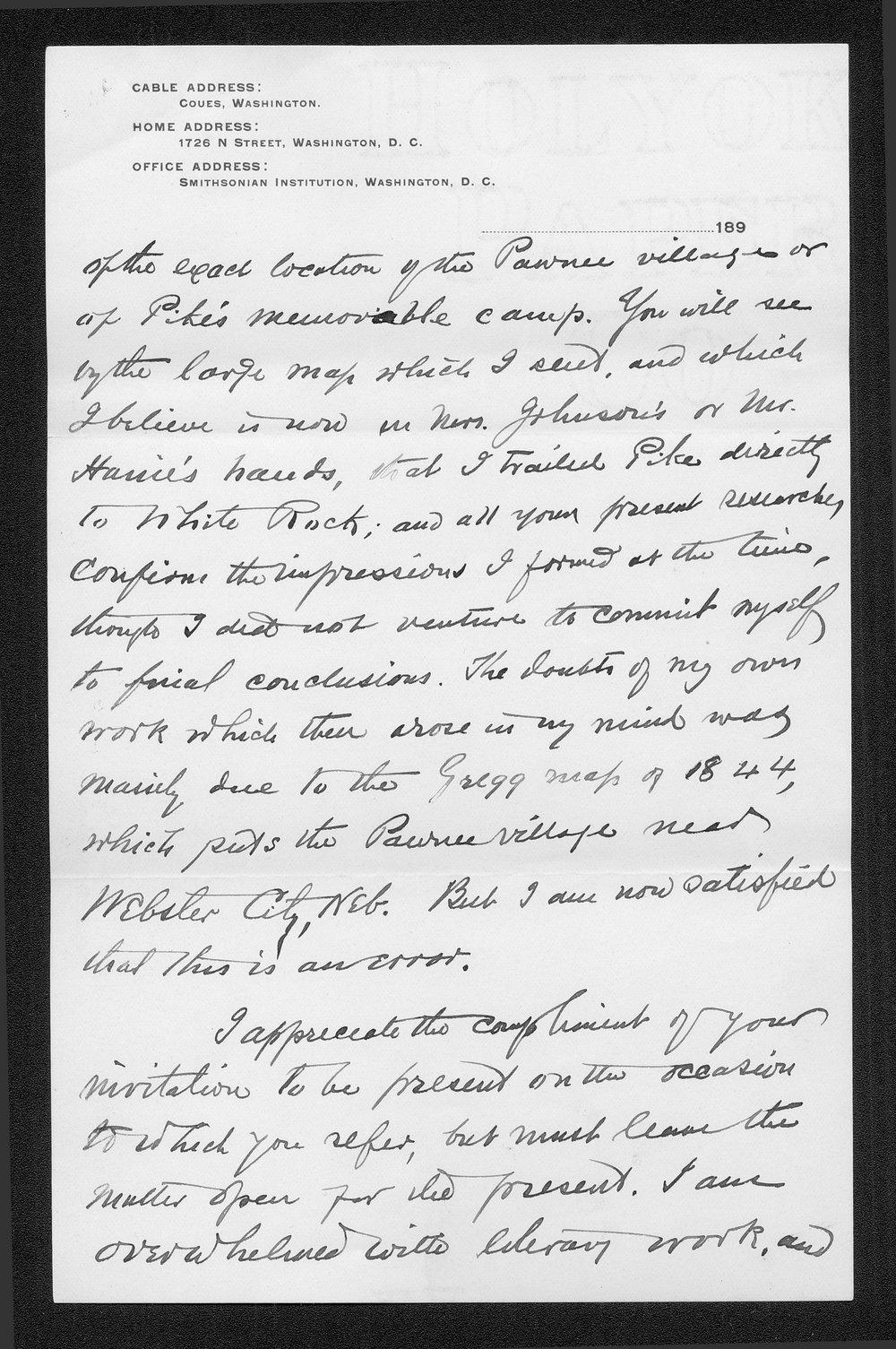 Zebulon Pike trip and Pawnee Indian Village correspondence - 7