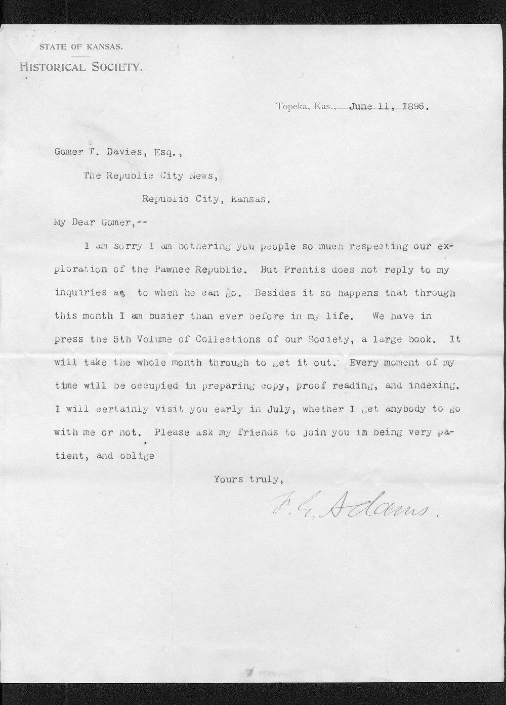 Zebulon Pike trip and Pawnee Indian Village correspondence - 12