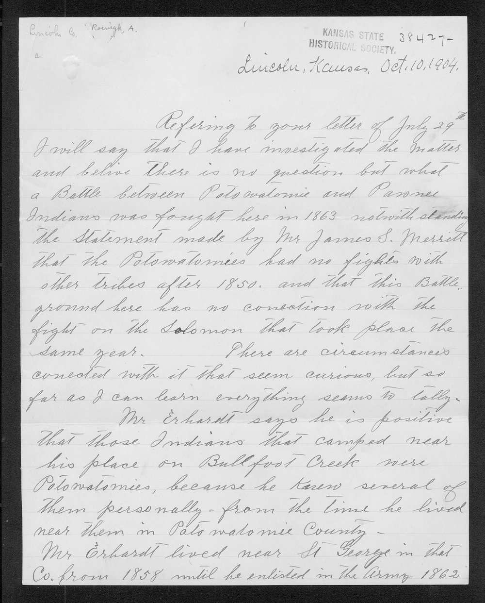 Adolph Roenigk and George W. Martin correspondence - 1