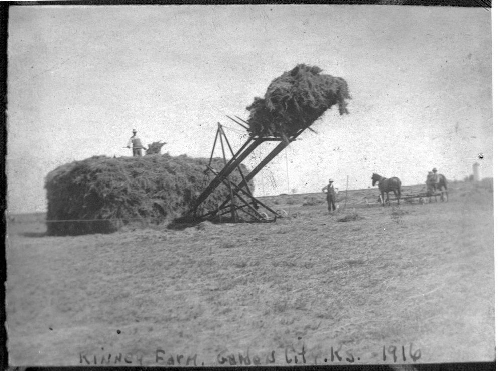 Stacking hay, Kinney farm, Finney County, Kansas