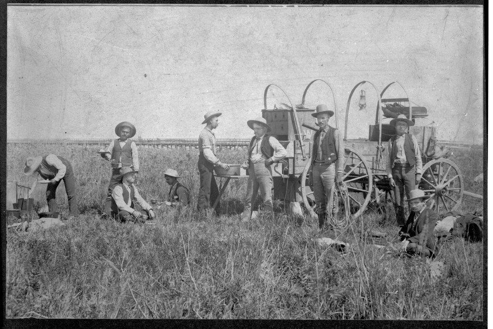 Cowboys and chuck wagon crew, Finney County, Kansas