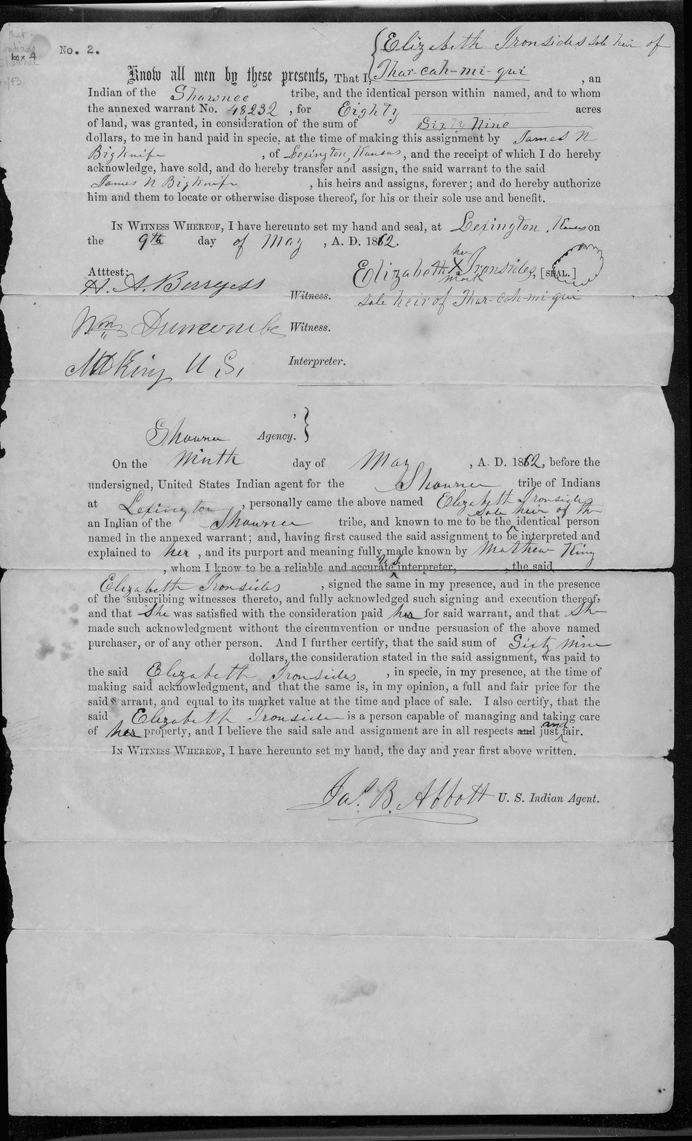 Land sale document, Elizabeth Ironsides to James N. Big Knife - 1