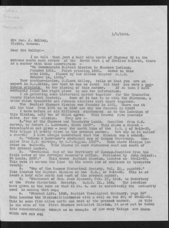 Grant Harrington's Shawnee Baptist Mission correspondence - 1