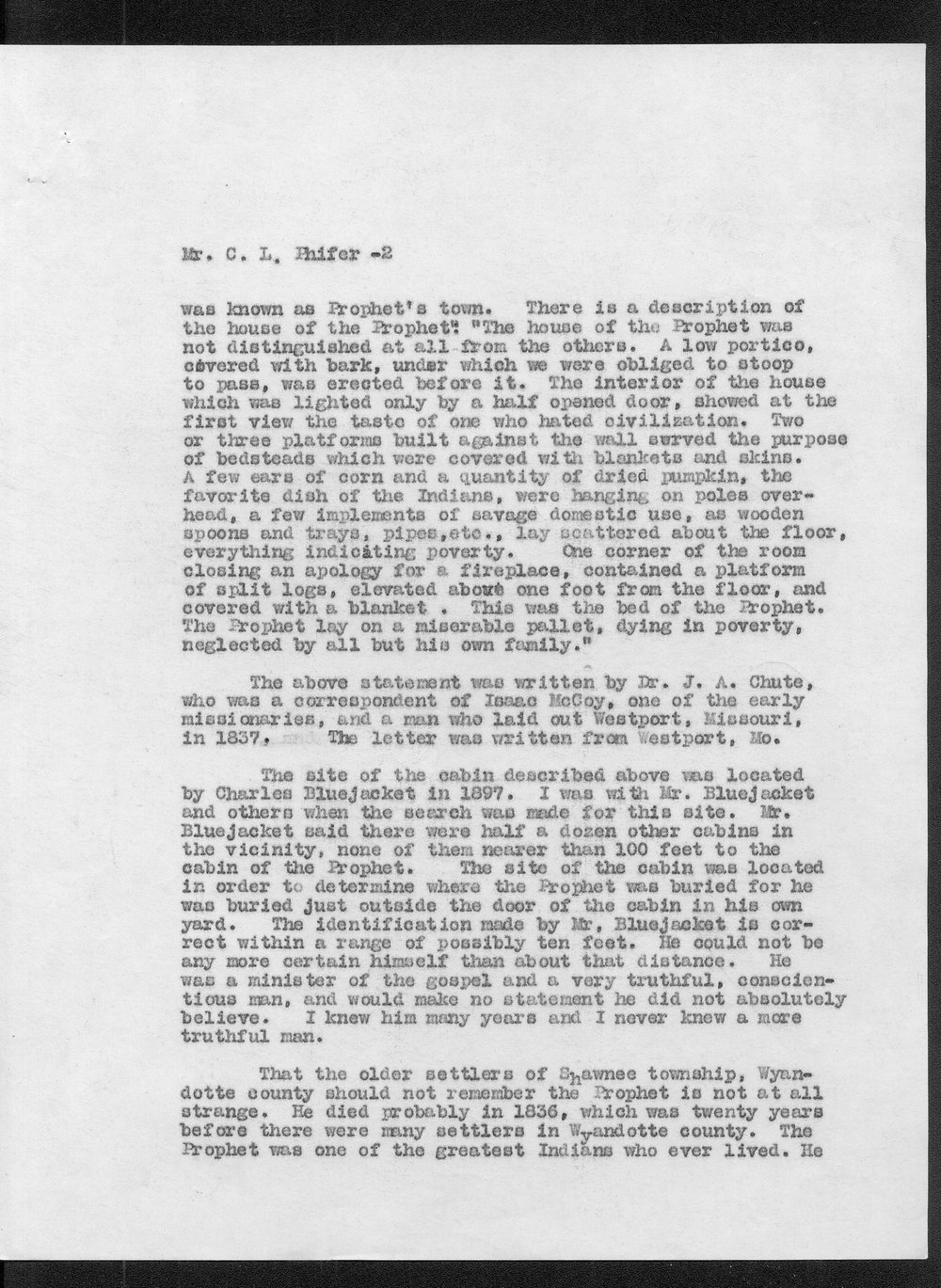 William E. Connelley to C.L. Phifer - 2