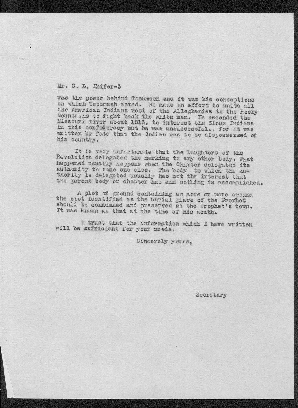 William E. Connelley to C.L. Phifer - 3