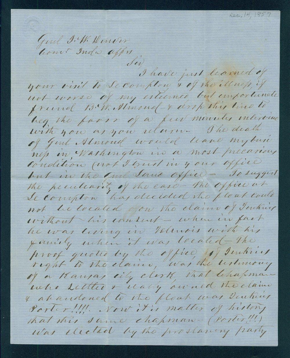 Johnston Lykins to General James William Denver - 1