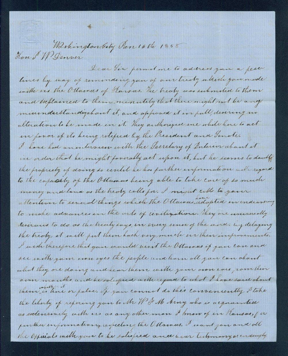 John J. Davies to General James William Denver - 1