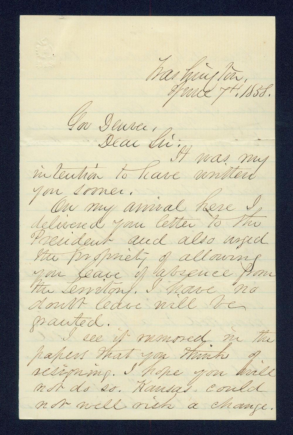 George A. Crawford to General James William Denver - 1
