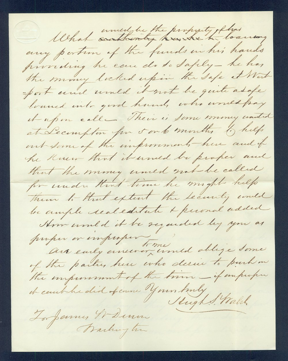Hugh S. Walsh to General James William Denver - 2
