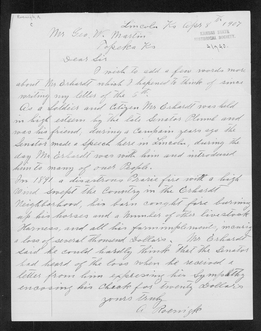 A. Roenigk to George W. Martin