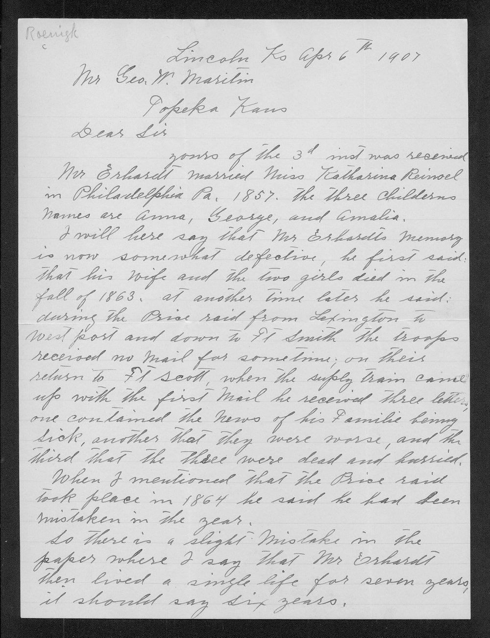 A. Roenigk to George W. Martin - 1