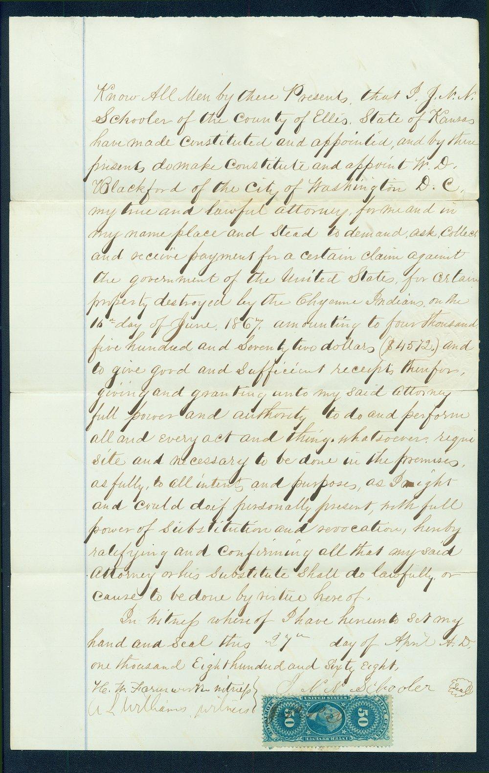 Letter by J.N.N. Schooler declaring William D. Blackford his attorney - 1