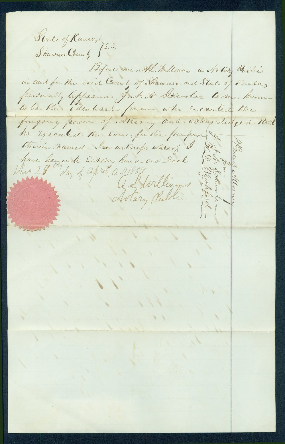 Letter by J.N.N. Schooler declaring William D. Blackford his attorney - 2