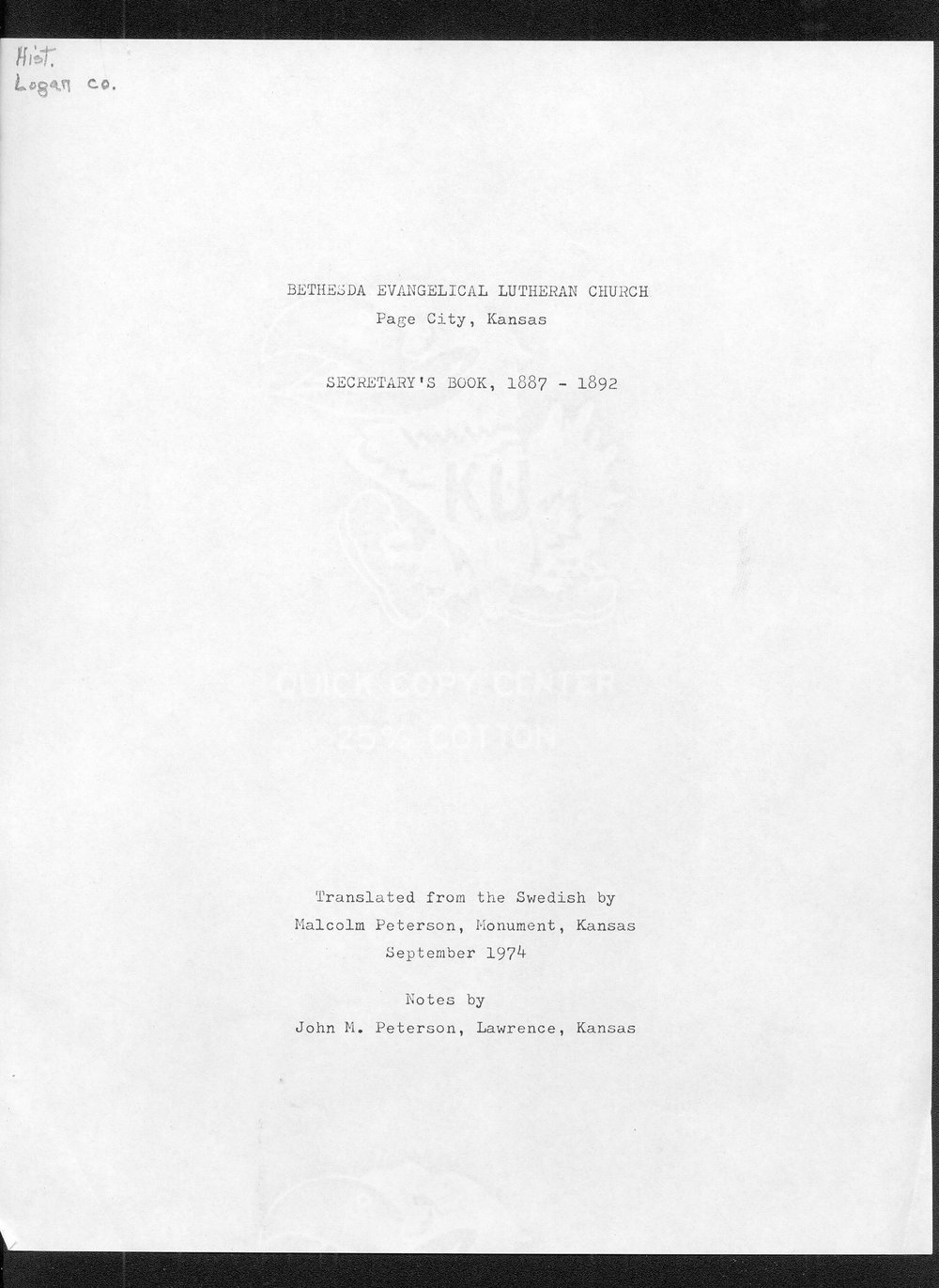 Bethesda Evangelical Lutheran Church, Page City, Kansas.  Secretary's book, 1887-1892 - Title Page