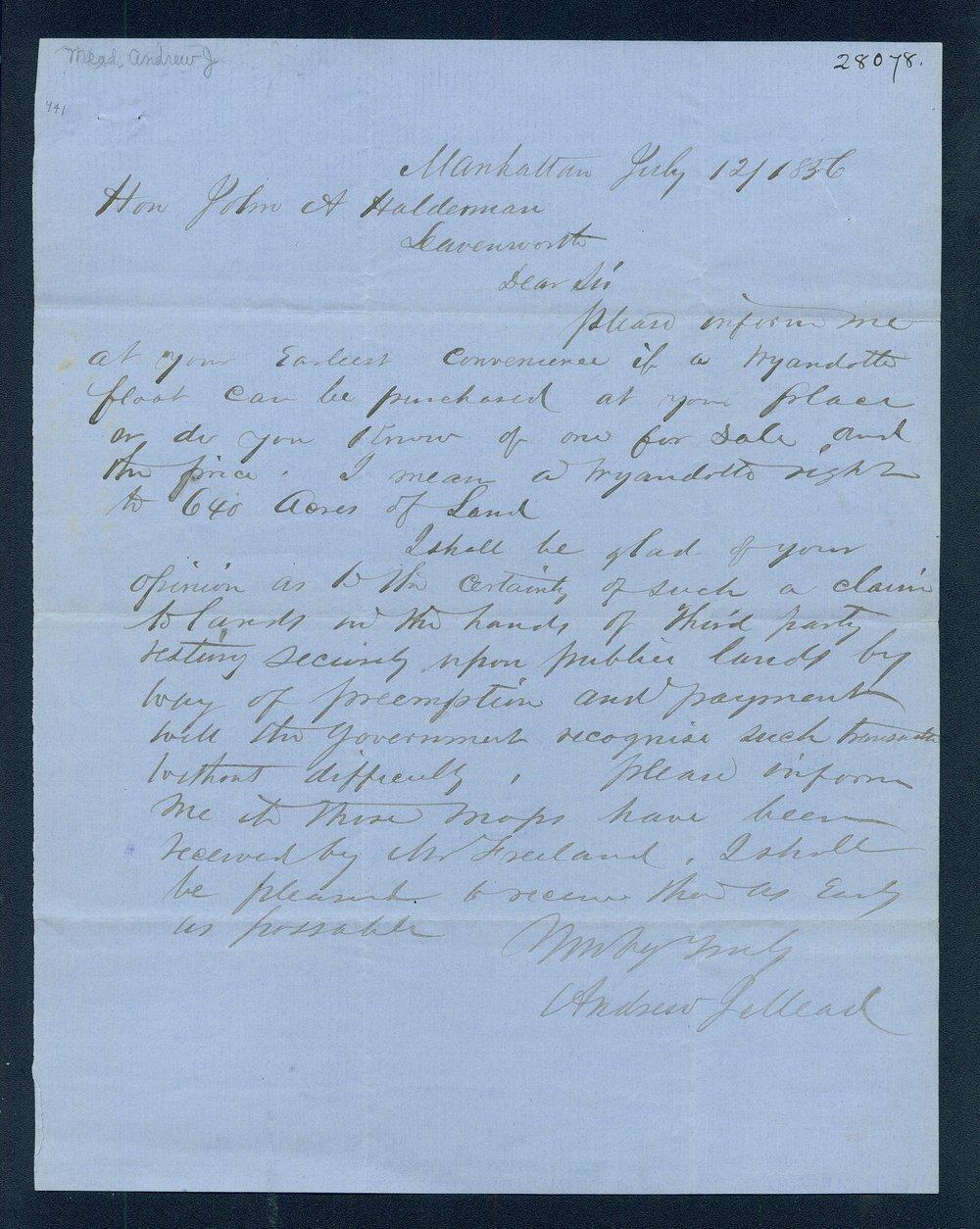 Andrew J. Mead to John A. Haldeman - 1