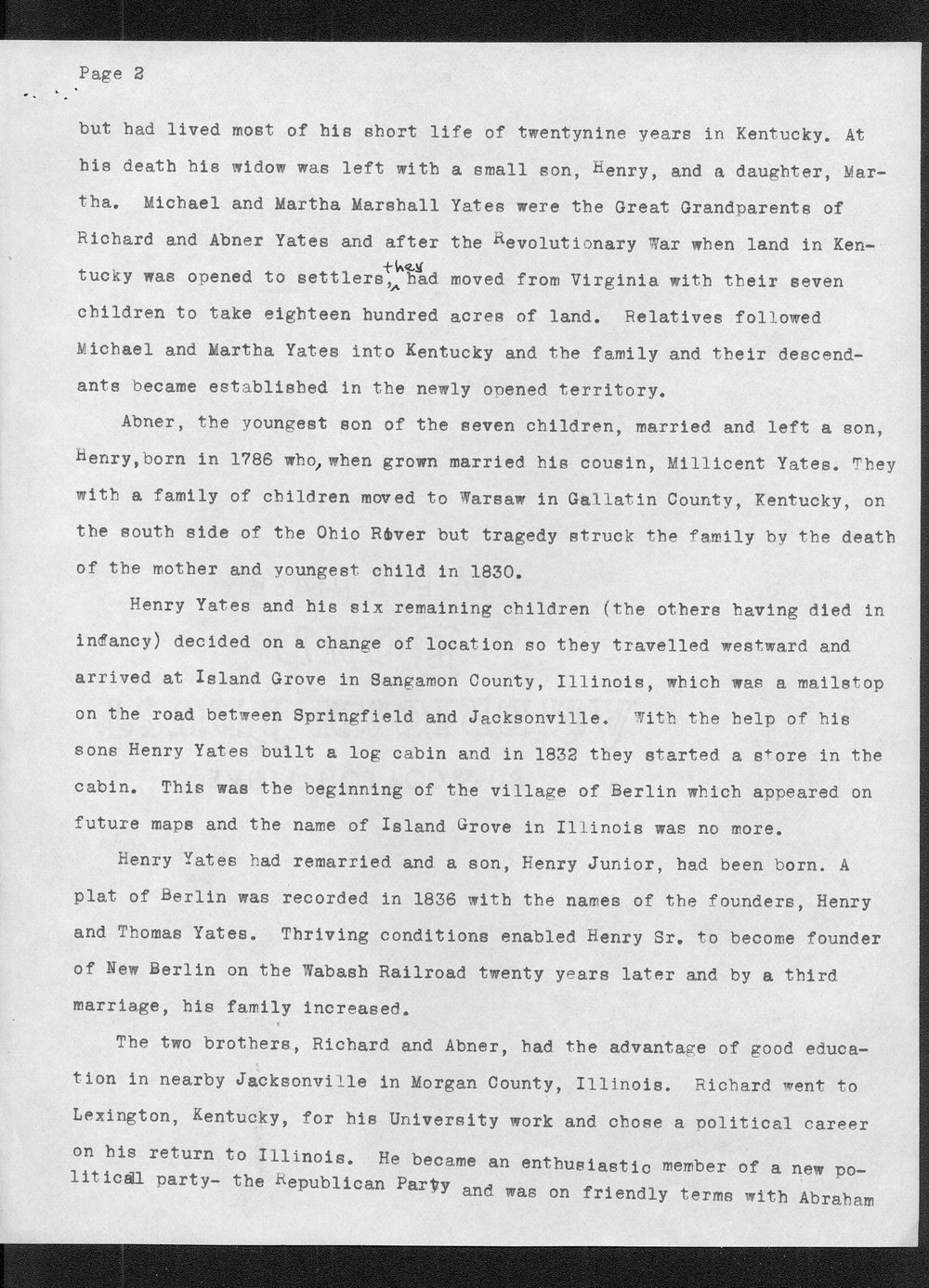"Life and background of Abner Yates ""Owner of a town""-Yates Center, Kansas - 2"