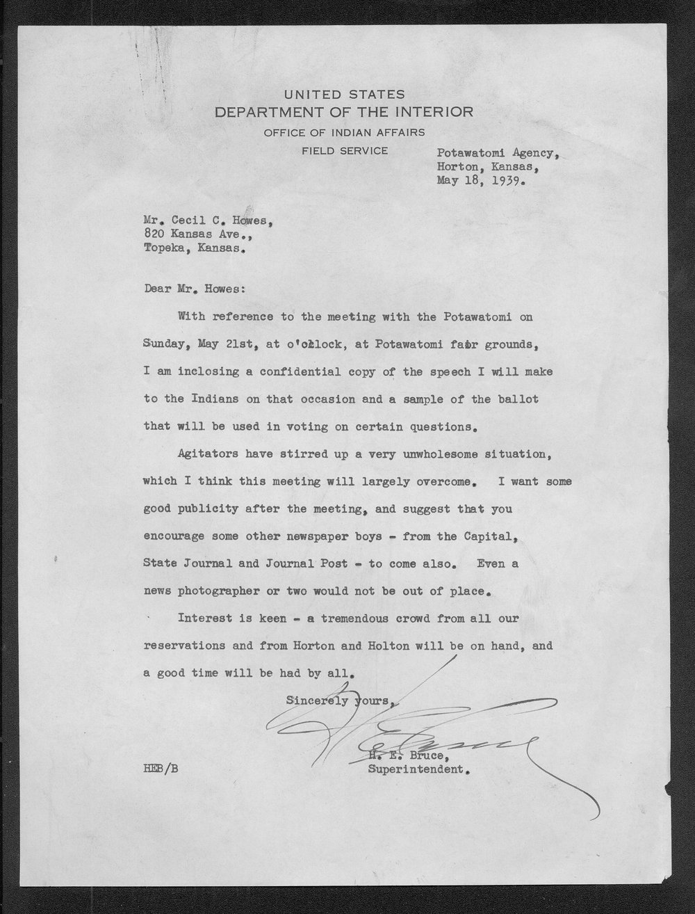 H.E. Bruce to Charles Cecil Howes - 1