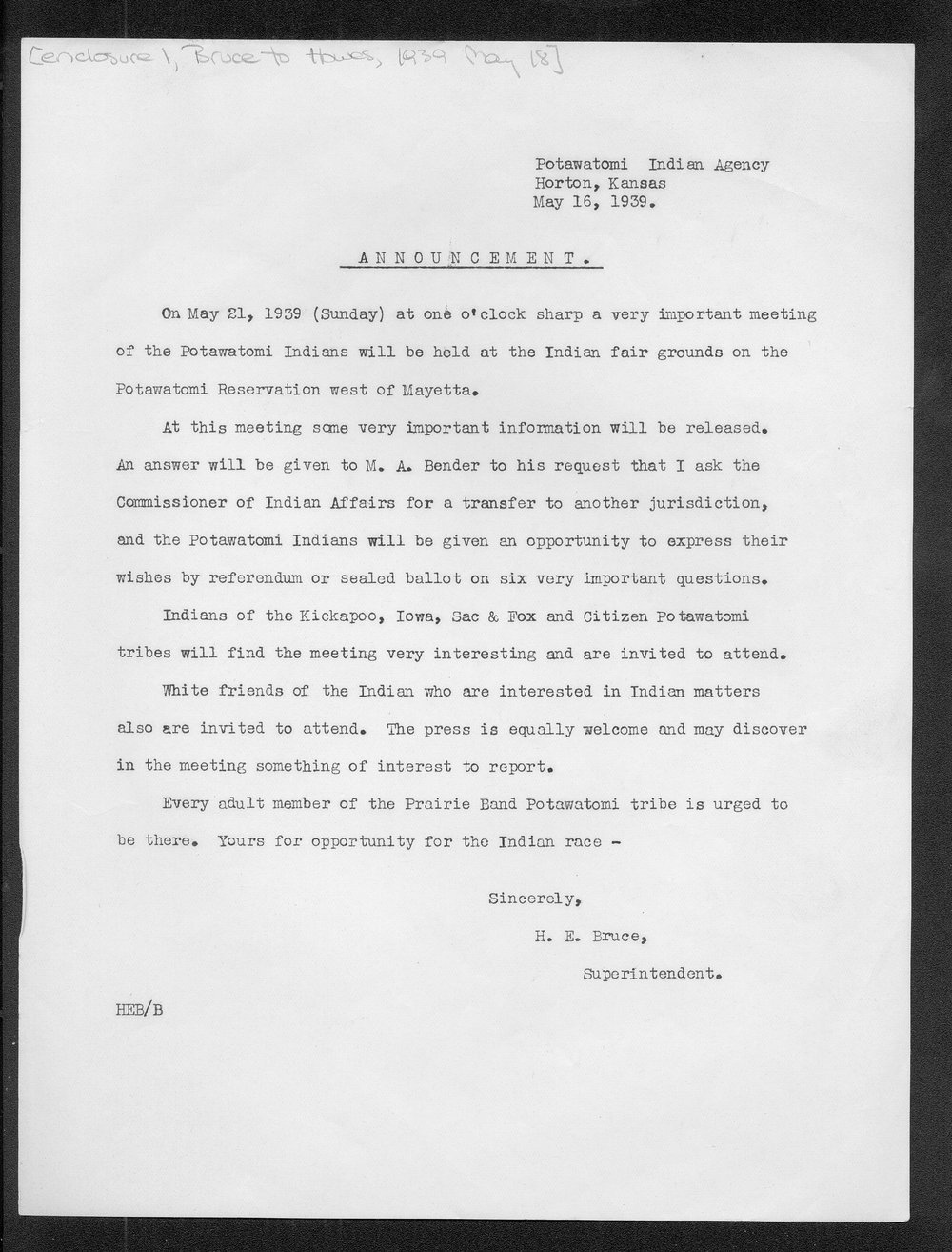 H.E. Bruce to Charles Cecil Howes - 2