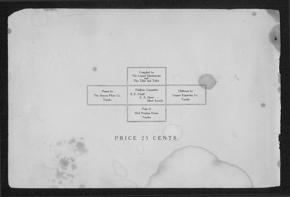 Souvenir of Larned and Pawnee County, Kansas - Inside Front Cover