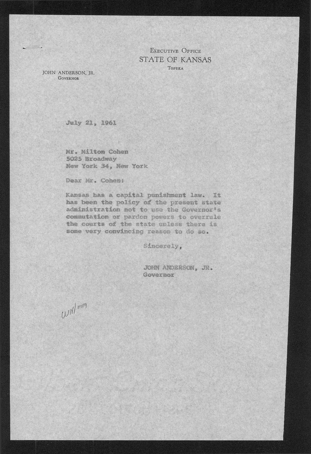 Governor John Anderson capital punishment received correspondence - 1