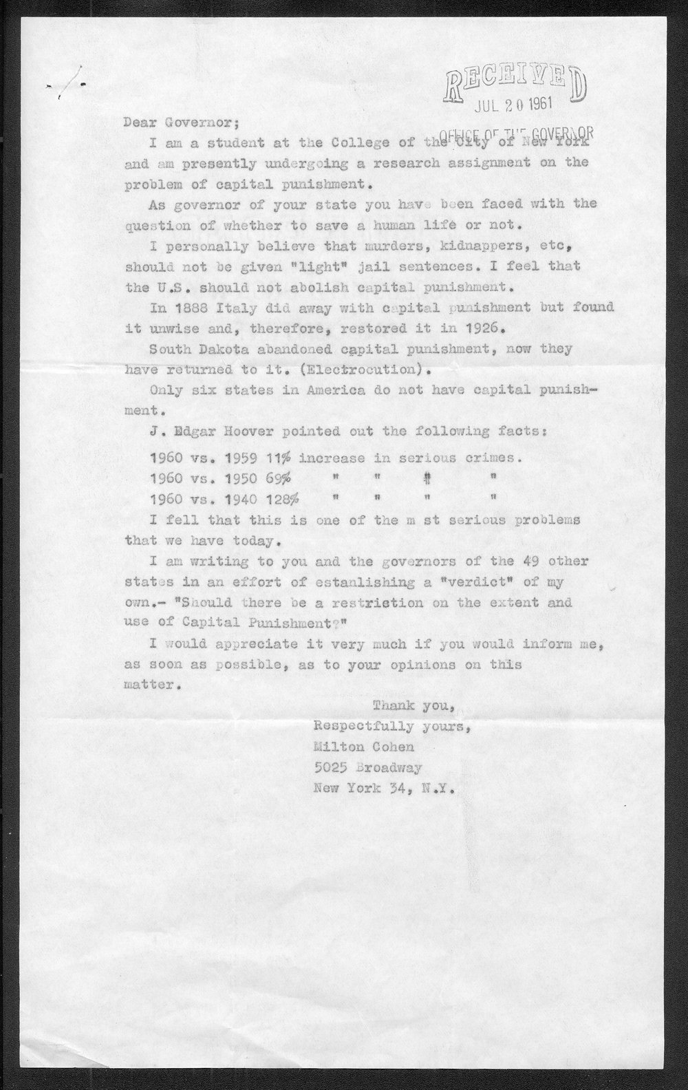 Governor John Anderson capital punishment received correspondence - 2