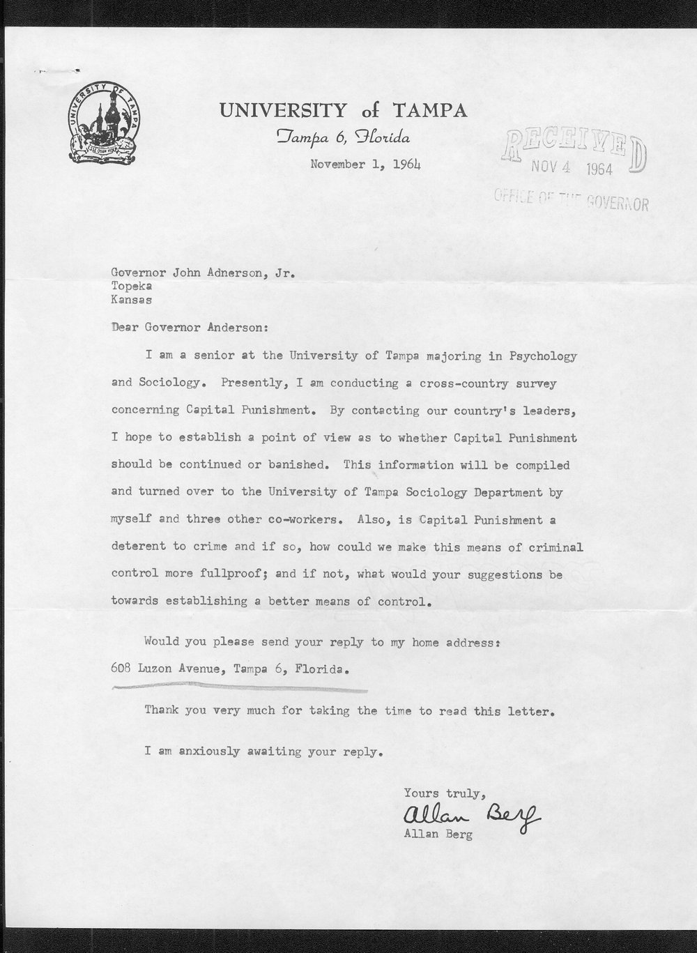 Governor John Anderson capital punishment received correspondence - 60