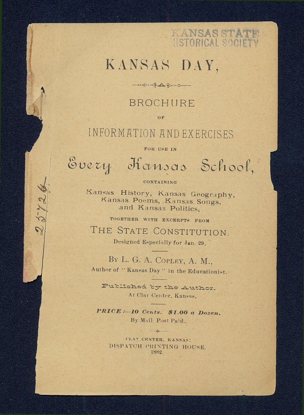 Kansas Day for Kansas schools - Title Page