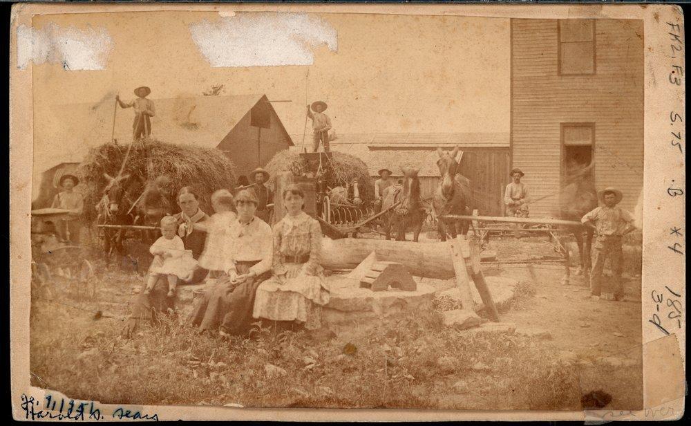 De Boissiere's stone house and a harvest scene in Silkville, Kansas - 1