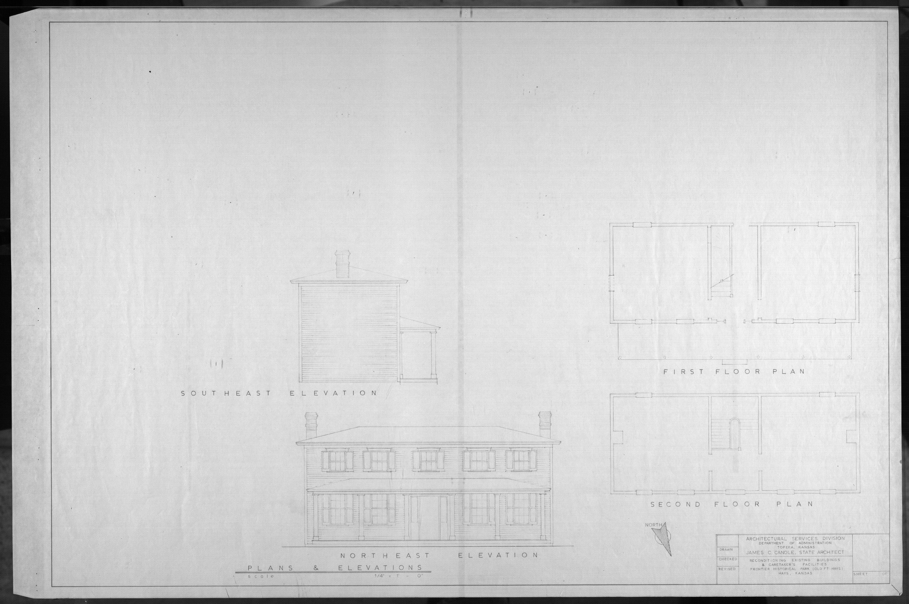 Architectural plans for Frontier Historical Park and Old Fort Hays - 1