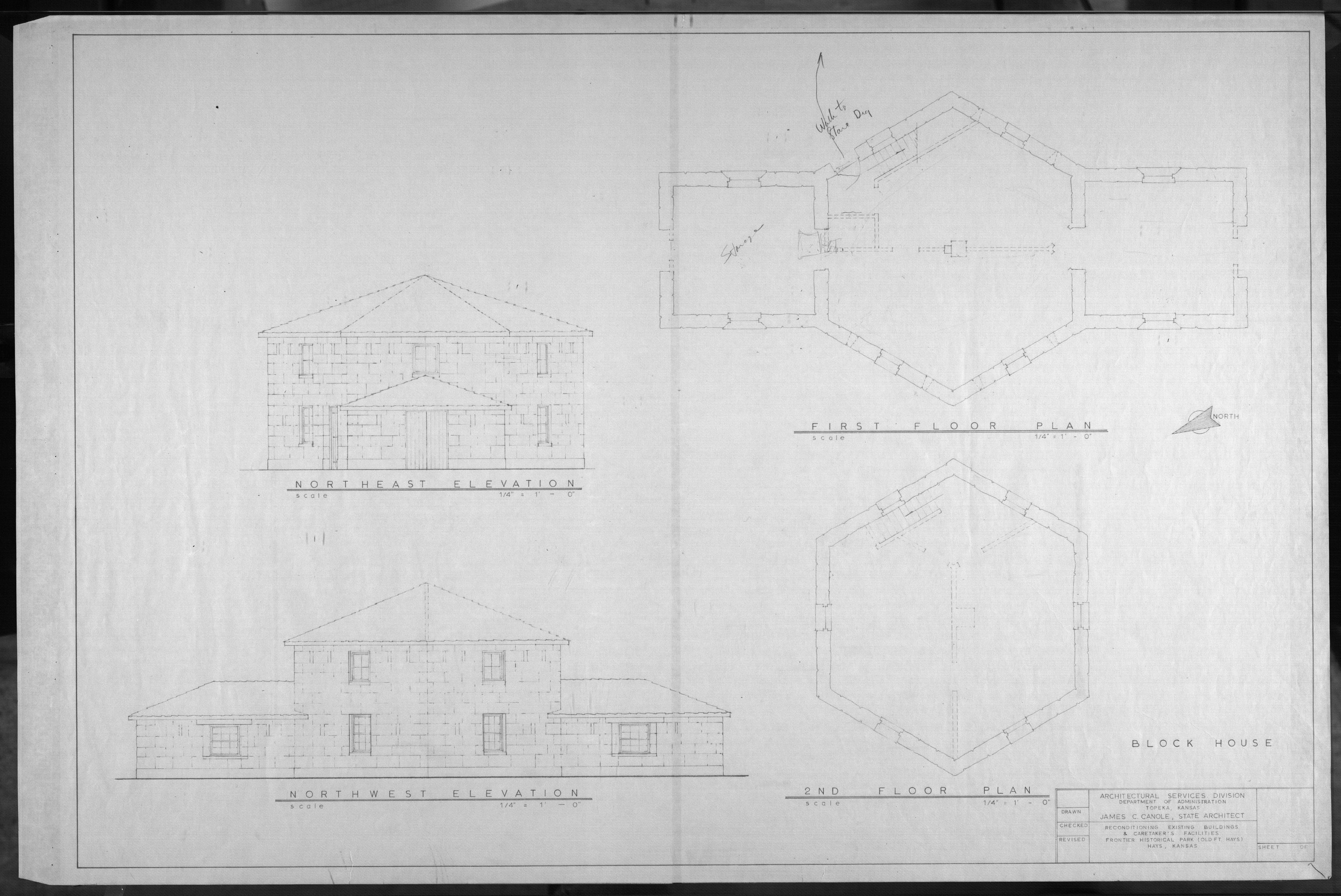 Architectural plans for Frontier Historical Park and Old Fort Hays - 2