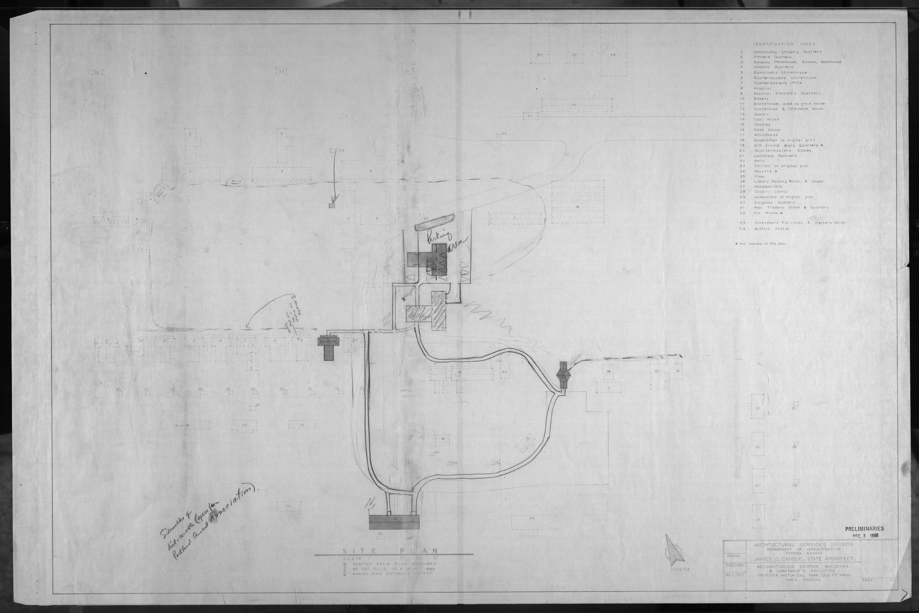 Architectural plans for Frontier Historical Park and Old Fort Hays - 4